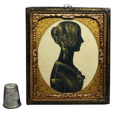 19th Century Victorian Lady Portrait Silhouette Leather Daguerreotype Frame Circa 1840