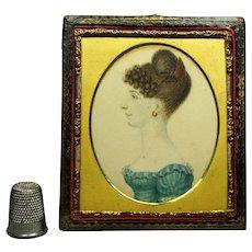 Early 19th Century Regency Lady Portrait Miniature Blue Dress Leather Daguerreotype Frame Circa 1815