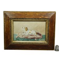 19th Century Miniature Dog Watercolor, Borzoi Russian Wolfhound, Circa 1890