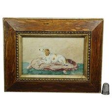 19th Century Miniature Dog Watercolor, Borzoi Russian Wolfhound, Circa 1890