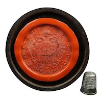 Large 19th Century Cased Red Wax Seal Impression Austrian Imperial Habsburg Arms Holy Roman Empire