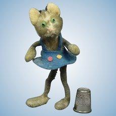 Rare 1940's Miniature Schuco Kitten Pipe Cleaner Cat Grey Mohair