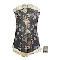 Original Antique 19th Century Dolls Corset, Stays, Black and Pink, English Maker and Retailers label Circa 1890 AF