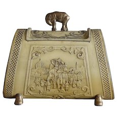 Antique Elephant Handbag Biscuit Tin by Huntley & Palmers English Circa 1905