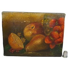 19th Century Naïve Folk Art Still Life Oil On Canvas, Fruit Strawberries etc Circa 1880