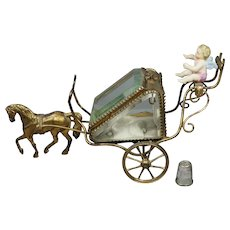 Rare Antique French Pocket Watch Vitrine, Horse and Carriage Glass & Ormolu Jewelry Display Case 1870