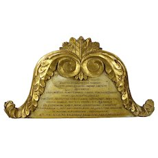 Rare Georgian Hand Carved Wooden Epitaph Crest, Gilt Gesso Decoration Stolz Family Dated 1825
