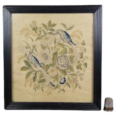 Antique 19th Century Miniature Needlepoint Needlework Blue Birds Circa 1830