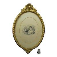19th Century Georgian Engraving Cupid Bound Circa 1833, Gorgeous Oval Gilt Frame