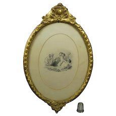 19th Century Georgian Engraving Cupid Bound Circa 1833, Gorgeous Oval Gilt Frame