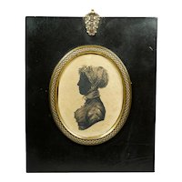 19th Century Regency Portrait Silhouette Young Lady, Pelisse and Muslin Cap Circa 1815