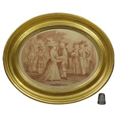 French 18th Century Sanguine Stipple Engraving Adult Dressed Children, Superb Oval Gilt Frame By Nicholas Colibert Circa 1785