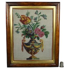 Antique 19th Century French Sable Beadwork Picture, Flowers in Classical Vase, Georgian Circa 1820