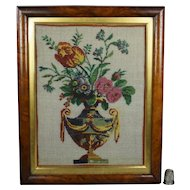 Stunning 19th Century French Sable Beadwork Picture, Flowers in Classical Vase, Georgian Circa 1820