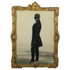 19th Century Full Length Cut Paper Silhouette Georgian Gentleman STUNNING Gilt Rococo Frame Circa 1830