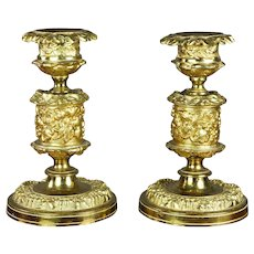 Pair French 19th Century Gilt d'or Ormolu Candlesticks, Small,  Circa 1850