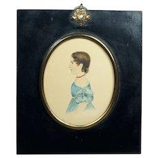 19th Century Folk Art Watercolor Portrait Miniature Girl Blue Dress 1838