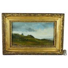 19th Century English Seascape Oil On Board Coastal Landscape Circa 1880