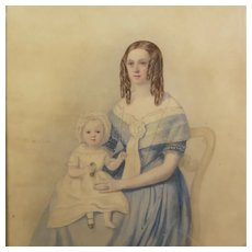 Beautiful Antique 19th Century Watercolor Portrait Lady Mother Blue Dress And Child Holding Shoes Circa 1840