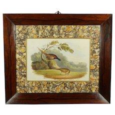Antique 19th Century English Watercolor Pheasants, Georgian Bird Landscape Painting 1828