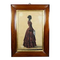 Antique 19th Century Victorian Silhouette Of A Lady, Full Length Colored Red Dress, Circa 1840s