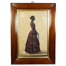 Reserved for Taber Antique 19th Century Victorian Silhouette Of A Lady, Full Length Colored Red Dress, Circa 1840s