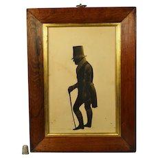 Antique 19th Century Georgian Silhouette, Large Full Length Portrait English Gentleman John Crompton 1833