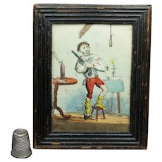 Miniature 19th Century Hand Colored Engraving Humorous Print, Bad Day, English Circa 1820
