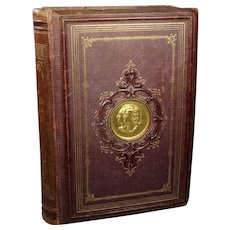 STUNNING 19th Century Red Book Inset Gilt Metal Cameo Medallion, German Poet Goethe and Friedrich Schiller