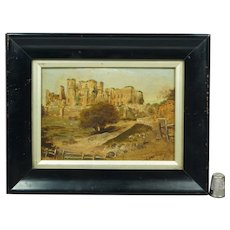 19th Century Miniature English Oil On Board Painting Kenilworth Castle, Warwickshire, England Circa 1830