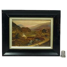 19th Century Welsh Miniature Landscape Oil On Board Painting Circa 1830, Snowdonia