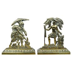 19th Century Pair Miniature English Brass Mantel Figures, Allegory of America Circa 1850