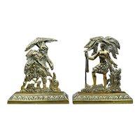 Antique 19th Century Pair Miniature English Brass Figures, Chimney Pieces, Circa 1850