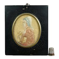 Antique Georgian Miniature Needlework Needlepainting, Silk Embroidery, Poet Dante, RARE Circa 1800 After Mary Linwood