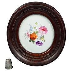19th Century Miniature English Porcelain Floral Plaque Regency era Circa 1815