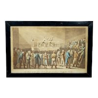 Rare 19th Century Boxing Engraving Pugilist Print 'A Set To At Fives Court' London, Georgian dated 1821