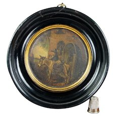 Antique Samuel Raven Snuff Box Lid Framed, Georgian C 1810 AF