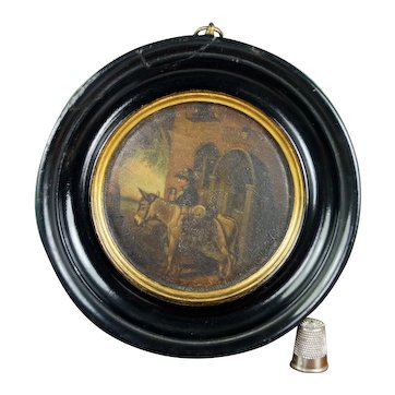 Antique Samuel Raven Snuff Box Lid Framed, Georgian C 1810 AF