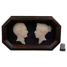 Antique 19th Century Miniature Wax Portrait Profile Queen Victoria And Prince Albert, Wedding  Commemorative Circa 1840