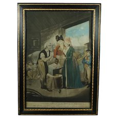 18th Century Mezzotint Gretna Green Marriage Red Coat Wedding Circa 1790, English Country House Look AF