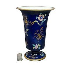 English Circa 1823, Spode Porcelain Trumpet Vase, Pattern 3420, Blue, Pink and Gold Enamels