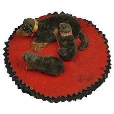 Antique 19th Century Dog and Puppies Pen Wipe Velvet Folk Art Circa 1870