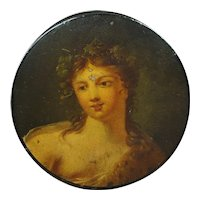 Rare Georgian Papier Mache Snuff Box Superb Hand Painted Lady, Mary of Egypt, Circa 1810
