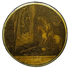 Rare Georgian Papier Mache Snuff Box, Witch Extract From Robert Burns Poem Tom O'Shanter, Scottish Circa 1814