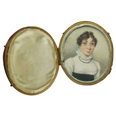 Antique Circa 1815 Portrait Miniature Regency Lady In Red Leather Case English 19th Century
