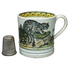 Rare 19th Century TINY Childs Nursery Ware Mug Cup Leopard Wild Cat Wolf Pearlware Transferware Circa 1825