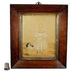 RARE 19th Century Primitive Naive Miniature Watercolor Portrait Girl Dog by Caleb William Wing, Circa 1841