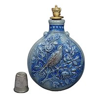 19th Century Scent Flask Westerwald Stoneware Scent Bottle,German Birds Aesthetic Movement C 1870