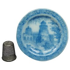 Antique Miniature Dolls Plate, Blue and White Temple Ruins Pattern, English Circa 1830