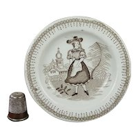 19th Century Miniature Staffordshire Childrens Toy Plate Transferware Girl Church Circa 1830